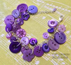 Unique Stocking Stuffer Button Charm Bracelet by BellePapiers
