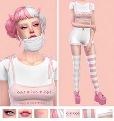 sims e-girl — eyeliner - eyeshadow - lips - blush - hair - horns. Sims Four, Sims 4 Mm Cc, My Sims, Sims 4 Mods, Sims 4 Game Mods, Maxis, Sims 4 Anime, The Sims 4 Packs, Pelo Sims