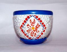 Mandalas Huichol art collection mosaic art blue pot
