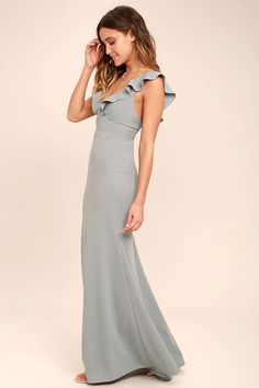 Lulus Exclusive! Weddings, parties, and galas are all good excuses to debut the Perfect Opportunity Grey Maxi Dress! Stretch knit forms fluttering sleeves, a V-neck, seamed bodice, and set in waist. Figure-flaunting maxi skirt with mermaid hem. Hidden back zipper/clasp.