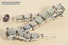This gorgeous bracelet is easy to make using a single row of right angle weave beadwork and two-hole CzechMates beads.