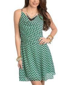 Mint & Black Zigzag Drape Neck Dress #zulily #zulilyfinds    Love the minty green and black.