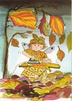 Postcrossing postcard from Finland Autumn Art, Autumn Leaves, Gif Animé, Doll Eyes, Happy Fall Y'all, Whimsical Art, Cute Illustration, Kids Cards, Cute Art