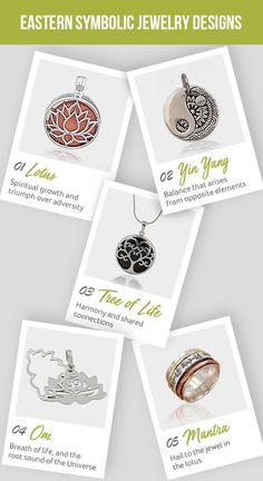 Eastern Symbolic Jewelry Designs - Lotus, Yin yang, Tree of life, and om Tibetan Symbols, Sacred Symbols, Om Mantra, Meaningful Jewelry, Inspirational Jewelry, Spiritual Teachers, Uplifting Quotes, Yin Yang, Lotus