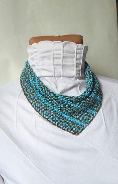 PDF scheme pattern ornament neckerchief solitaire beaded shawl beaded Netted Beaded Scarf tutorial digital file pdf pattern beading