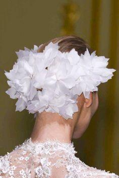 George Hobeika Haute Couture SS/2013 white silk flowers headpiece.