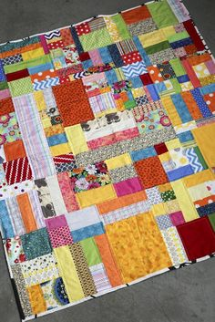 Here's another quilt I've been working on these past couple of months. I took the scraps I had from all of the quilts I've done and started sewing! I love looking at all of the different fabrics . Scrappy Quilt Patterns, Batik Quilts, Rag Quilt, Scrappy Quilts, Big Block Quilts, Cute Quilts, Strip Quilts, Quilt Blocks, Scrap Fabric Projects