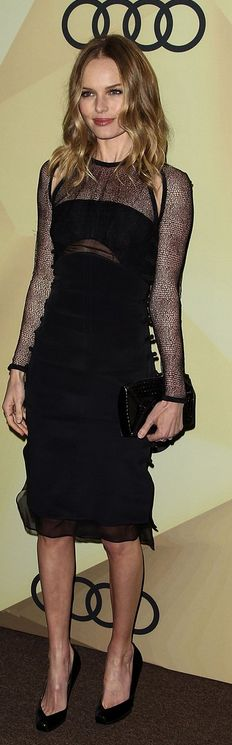 Who made  Kate Bosworth's black long sleeve dress that she wore in Los Angeles on January 6, 2012?