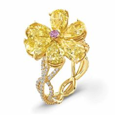 "chrischelsea12548: ""Gold ring in yellow, pink and white diamonds by Rahaminov…"