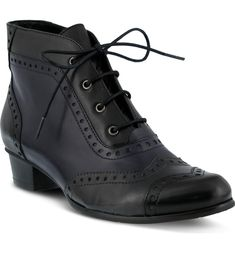 Heroic Bootie SPRING STEP $169.95 Brogue details and lace-up styling bring a Victorian air to a short bootie updated with color blocking and a convenient side zip.