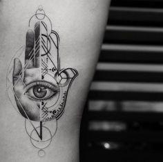 Epic hamsa hand tattoo by Balazs Bercsenyi