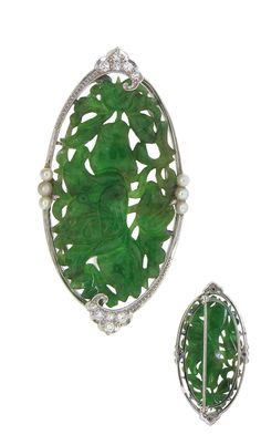 Platinum, jade, diamond and pearl Art deco brooch - Circa 1920's.