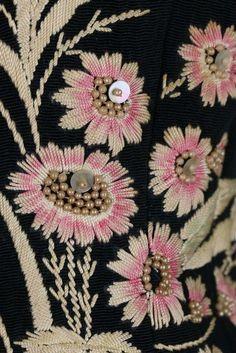 An Elsa Schiaparelli couture daisy-embroidered jacket, Autumn-Winter, Place Vendôme, Paris' labelled, of. Tambour Embroidery, Couture Embroidery, Embroidery Stitches, Embroidery Patterns, Hand Embroidery, Machine Embroidery, Elsa Schiaparelli, Broderie Simple, Lesage