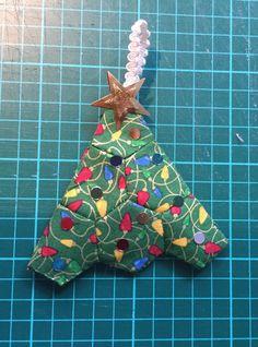 Small hexi,  Xmas tree little stuffing. Hand sewn