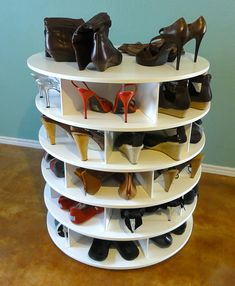 DIY: Lazy Susan Rotating Shoe Rack. Instructions Here http://community.homedepot.com/t5/Install-Replace/Want-to-make-a-lazy-susan-shoe-rack/td-p/42655  or buy the plans here http://www.etsy.com/listing/95365367/the-lazy-shoe-zen-plans