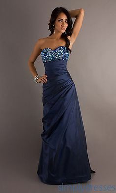 Long Strapless Sweetheart Taffeta Formal Gown at PromGirl.com