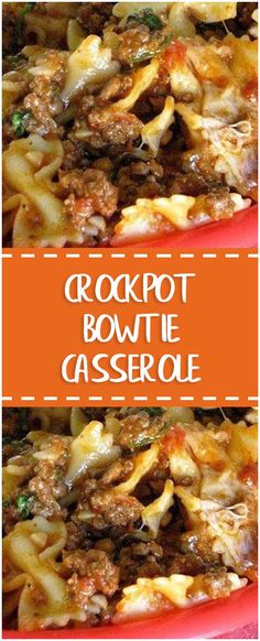 Crockpot Bowtie Casserole - Food Addict Best Picture For beef recipes indian For Your Taste You are Crockpot Dishes, Crock Pot Slow Cooker, Crock Pot Cooking, Slow Cooker Recipes, Beef Dishes, Cooking Recipes, Hamburger Crockpot Recipes, Italian Crockpot Recipes, Crockpot Kids Meals