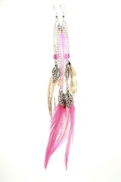 Ideas for teen girls. Natural Grizzly/Pink Feather Earrings w/ pink beads by blinkipop, $16.00