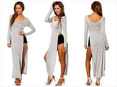 LONG SLEEVE HIGH SLIT MAXI T-SHIRT DRESS Upto 3XL in Gray and purple - Something for the fall.