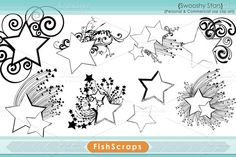 Check out Swooshy Star Frame Clip Art by FishScraps on Creative Market