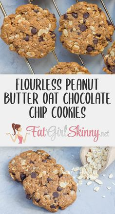 Low Syn Flourless Peanut Butter Oat Chocolate Chip Cookies | Fatgirlskinny.net | Slimming World Recipes & More Slimming World Cookies, Slimming World Recipes Syn Free, Oat Chocolate Chip Cookies, Peanut Cookies, Good Healthy Recipes, Healthy Snacks For Kids, Healthy Menu, Biscuit Recipes Uk, Cookie Recipes