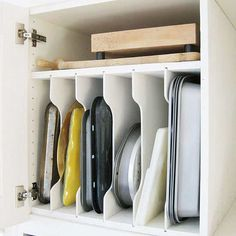 Get storage hacks for your kitchen here! These simple DIY ideas will organize and maximize your cooking space.
