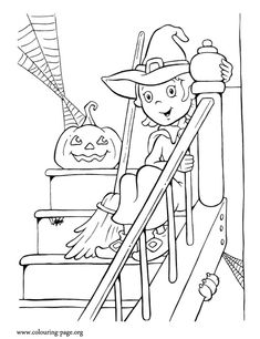 This beautiful little witch  is sitting on the stairs with her broom and a Halloween pumpkin. Enjoy with this coloring page!
