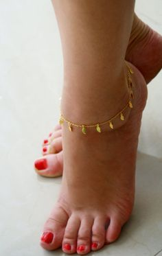 Gold Ankle Bracelet with Charms - Mid-Winter Island Vacation