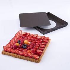 Le moule à tarte carré anti-adhérent fond amovible