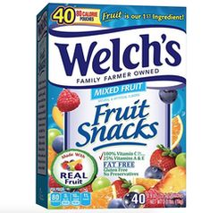 WELCH'S Mixed Fruit Snacks, Ounce, 40 Count Contains 40 - oz packs of Mixed Fruit Welch's Fruit Snacks Delicious Fruit Snacks where Fruit is the Ingredient Vitamin C, Vitamins A&E* (*DV per serving) Gluten Free Preservative Free Clean Eating Snacks, Healthy Snacks, Diy Snacks, Organic Fruit Snacks, Welches Fruit Snacks, Gourmet Recipes, Snack Recipes, Cereal Recipes, Vegan Recipes