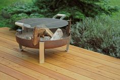Steel Fire Pit ETNA with a Stainless Steel Grill Grate / Barbecue / BBQ / Firepit / Outdoor Heater / Garden Wood Burner / Fire Bowl