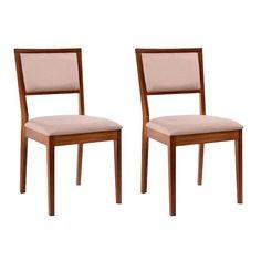 Conjunto de 2 Cadeiras Kondor Estofada Castanho e Bege