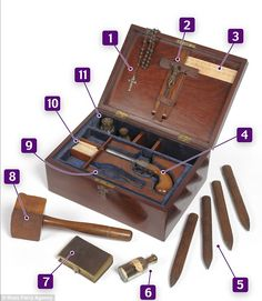 A 19th century Vampire slaying kit, which includes a wooden mallet and four oak stakes, glass vials of holy water and garlic paste is expected to fetch up £2,000 when auctioned later this month.    The macabre artefact also has a percussion cap pistol - invented in the 1830 - and a steel bullet mold, all carefully crafted to offer the best protection against any creatures of the night.