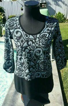 527b9f50744 Fresh Produce Wander Windfall Top Knit 3/4 Sleeve Blouse black small/med NWT