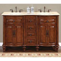 Silkroad Exclusive Wood And Crema 55 Inch Marble Double Bathroom Vanity