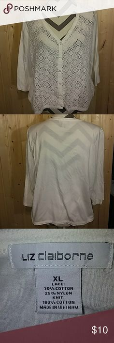 Liz Claiborne white lace top, size XL Liz Claiborne white lace top, size XL. Lace front, solid back. Liz Claiborne Tops Button Down Shirts