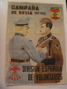 CARTEL DE LA DIVISION AZUL. DETRAS CUPONES RACIONAMIENTO DE BLANES ( GERONA) (Militar - Propaganda y Documentos)