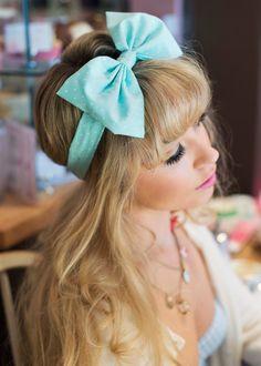Bow Headband, Dolly Bow, Pastel Bow Headband, Rockabilly Pin Up Girl Headband, Oversized Bow Headband, Kawaii Lolita Headband in MINT GREEN on Etsy, £12.00