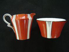 Royal Albert Vintage Set Creamer Sugar Paneled Art Deco Hand Painted England | eBay