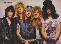 Guns N' Roses is a hard rock band that formed in Los Angeles in 1985. The classic lineup as signed to Geffen Records in 1986 consisted of vocalist Axl Rose, lead guitarist Slash, rhythm guitarist Izzy Stradlin, bassist Duff McKagan, and drummer Steven Adler.