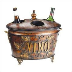 vintage wine cooler would go well in a outside patio decorated in purple