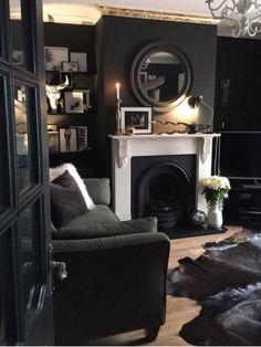 Dark Living Rooms, Living Room Interior, Home Living Room, Home Interior Design, Living Room Designs, Living Room Decor, Gothic Living Rooms, Interior Livingroom, Interior Modern