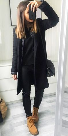 #winter #outfits  black coat