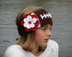 Tunisian KnitLook Crochet Football Headband/Ear warmers