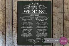 Chalkboard Wedding Program Sign Printable by HopSketchDesigns