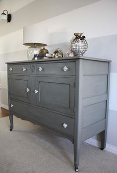Warm Grey Buffet #DIY #furniturepainting #paintedfurniture #greybuffet - www.countrychicpaint.com/blog Modern Country, Country Chic, Warm Grey, Gray, Wall Stripes, Striped Walls, Milk Paint, Paint Ideas, Furniture Makeover