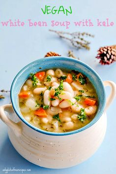 This old-fashioned bean soup is nourishing and comforting winter soup for the soul. The soup is everything it should be, healthy, hearty and simple to make White beans are packed with nutrients such a Vegetarian Soup, Vegan Soups, Healthy Soup, Healthy Eating, Soup Recipes, Diet Recipes, Vegan Recipes, Diet Tips, Baking Recipes