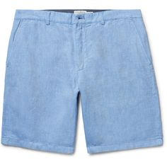 Club Monaco Maddox Linen and Cotton-Blend Oxford Shorts ($260) ❤ liked on Polyvore featuring men's fashion, men's clothing, men's shorts, mens sports apparel, mens sports shorts, mens linen shorts and mens sport shorts