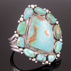 LARGE-NAVAJO-STERLING-SILVER-PILOT-MOUNTAIN-TURQUOISE-BRACELET-by-MIKE-PLATERO