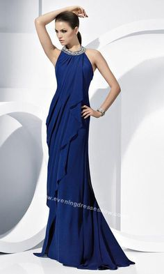 Beaded Scoop Neckline Fitted Long Blue Evening Dress